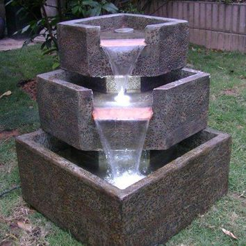 Garden Corner Fountain LED Decor- Natural Stone Design Granite Finish w/LED Lights