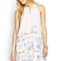 LOVE 21 Floral Halter Dress Blush/Ivory