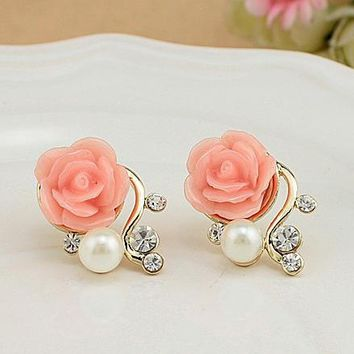 Christmas Gift Pearl Rose Flower Beads Crystal Vintage Earrings