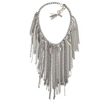 Chain fringe necklace with antique silver ad brass chains, studs, Swarovski crystals and Charms. Trendy necklace, trendy jewelry