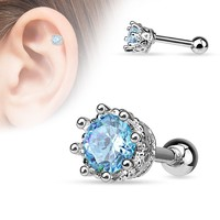 Aqua Vintage Style 8 Prong Set CZ  16ga Cartilage Tragus Barbell Helix 316L Surgical Steel Body Jewelry