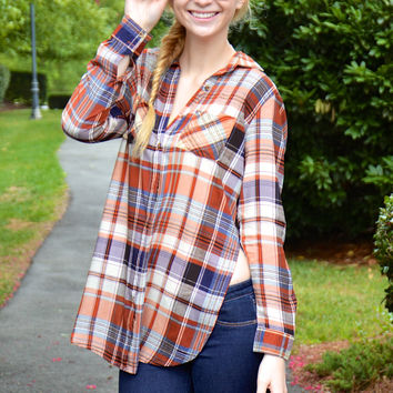 Plaid to Meet You top, rust