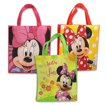 "3 Item Bundle: 8-pack Disney Tote Bags for Girls AND an 8-pack Silicone Bracelets AND a Disney 8"" Ruler (Minnie 3 Assorted)"