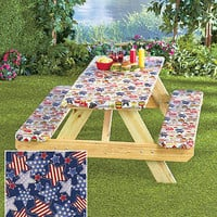 3 Pc Americana Stars Picnic Table & Bench Elastic Cover Patio BBQ Party Park