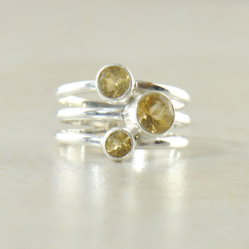 Citrine Sterling Silver Band Ring