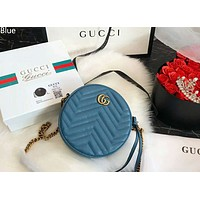 GUCCI Marmont wavy round cake bag love chain shoulder messenger bag blue