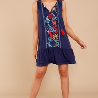 Dropping Hints Navy Blue Embroidered Dress