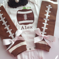 Baby Girl Thanksgiving outfit - baby girl fall outfit - football pumpkin bodysuit - personalized baby girl outfit - baby photo prop