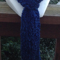 Blue Holiday Christmas Winter Knitted Scarf