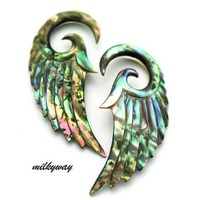 8G 3MM ABALONE ANGEL WINGS Ear Gauges Plugs Organic stretcher taper oil slick seraphim (Sold By Pair)
