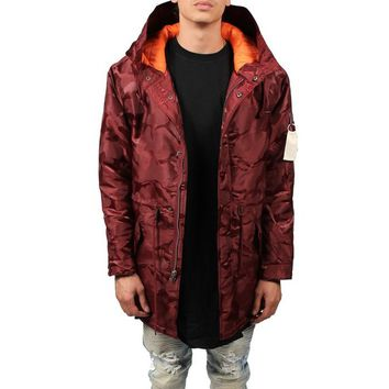 The Tonal Fatigue Fishtail Parka in Burgundy