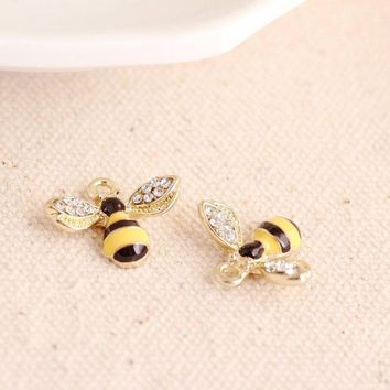DCCKFV3 MRHUANG 10pcs Lovely Rhinetone bee Charms Alloy Pendant fit for bracelet DIY  Fashion Jewelry Accessories
