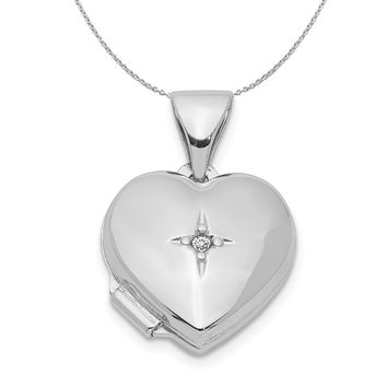 12mm Diamond Accent Heart Shaped Locket in Sterling Silver Necklace