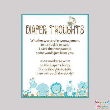 Boy Diaper Thoughts Game Safari Baby Shower - Printable Download - Write on Diaper Message Game, Words for Wee Hours - Blue Safari BS0001-B