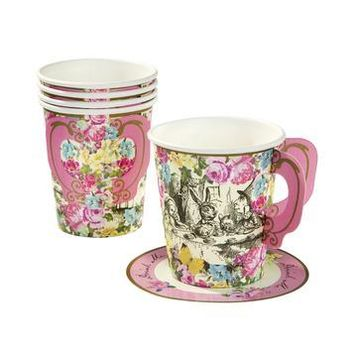 Truly Alice Whimsical Cups & Saucers