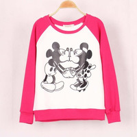 Disney Mickey and Minnie Mouse Love Cute Round Neck Women Casual Sweatshirt Shirt Top Blouse T-Shirt _ 1850