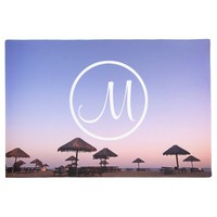 California palapas sunset photo custom monogram doormat
