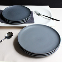 JK Home 1 Pcs Ceramic Plate Bowl Set Sample Dark Gray Steak Plate Dish Top Quali