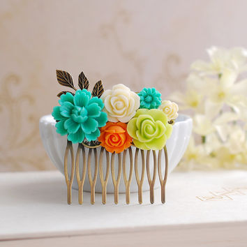 Teal Blue Flower, Orange Rose,Chartreuse Green Ivory Flowers Hair Comb. Flowers Bouquet and Leaf Collage Hair Comb, Teal Chartreuse Wedding