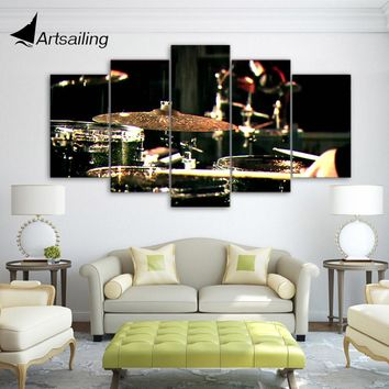 5 Pieces Canvas Paintings Printed Drummms Musical Instruments  Wall Art Canvas Modular Living Room Bedroom Home Decor CU-1321A