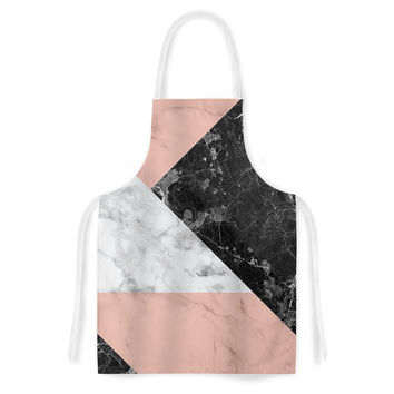 "KESS Original ""Geo Marble and Coral"" Black Art Deco Artistic Apron"
