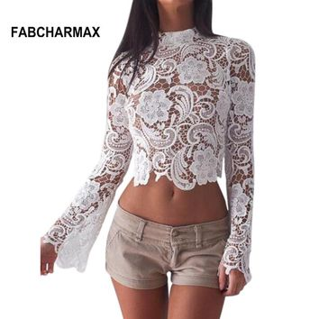 white lace crochet floral hollow out tops  long sleeve crop top zipper top