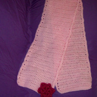 Baby Pink Scarf With Hot Pink Flower Applique Crochet Scarf Ready To Ship