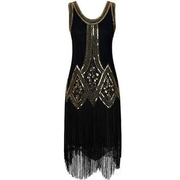 1920s Gatsby Beaded Fringed Inspired Cocktail Flapper Dress
