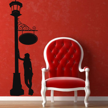 I213 Wall Decal Vinyl Sticker Art Decor Design streetlight street lamp post silhouette girl paris romance signboard Living Room Bedroom