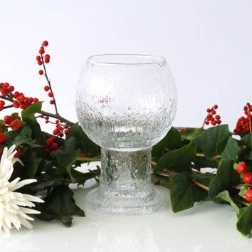 IITTALA GLASS VASE, 'Kekkerit', Large Goblet, designed by Timo Sarpaneva, Finnish Modern Design, Made in Finland, Scandinavian Scandi Decor
