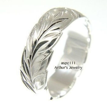 6MM STERLING SILVER 925 HAWAIIAN BAND RING PLUMERIA FLOWER MAILE LEAF CUT OUT