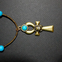 Handmade Bronze and Turquoise Beaded Ankh Pendant Necklace from NotionsN'Potions