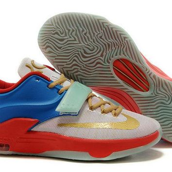 Spring Summer 2018 How To Buy KD 7 VII ID Good Day White Gold Sky Blue Turquoise Green Glow Brand sneaker