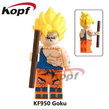 Single Sale KF950 Super Heroes Dragon Ball Z Son Goku Vegeta Yellow Hair Master Roshi Building Blocks Children Gift Toys