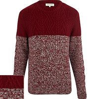 River Island MensRed cable knit color block sweater