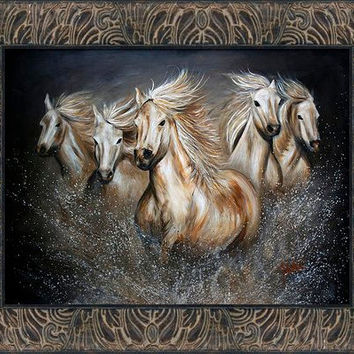 Wild Horses in Vintage Collection-Espresso Frame - FREE US SHIPPING - The Symphony by Teshia