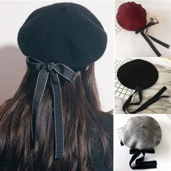 Magik Wool Blend Bow Long Tie Artist Warm French Vintage Beanie Beret Hat Cap
