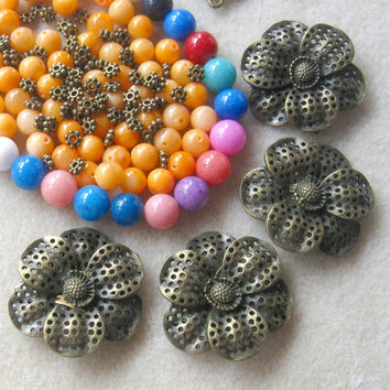 Antiqued Brass, Flower Connectors Focals, MOP, Agate Beads, DIY Jewelry Kit, Craft Supplies, Mother of Pearl, Bead Kit, Jewelry Making