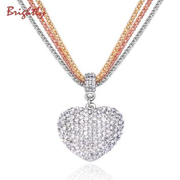 Brightly Hot Sales Love Heart Pendant Necklaces Triple Popcorn Chain Necklaces for Women Valentine's Day Gift