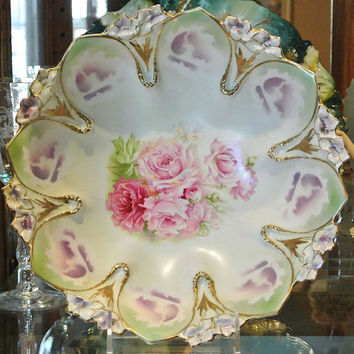 "RS Prussia Bowl Master Berry 10"" Antique Porcelain Art Nouveau 1900s Victorian Germany Star Wreath Large Blossoms Pink Roses Lavender Gold"