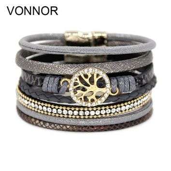 ac spbest VONNOR Jewelry Bracelets for Women Multi-layer Leather Rope Rhinestone Alloy Accessories Magnet Clasp Bangle Bracelete Feminino