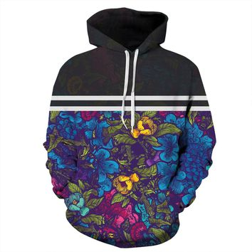 Hoodies Funny Floral Print Sports Long Sleeve Hip Hop Top For Men Unisex Tracksuit Couples Clothing