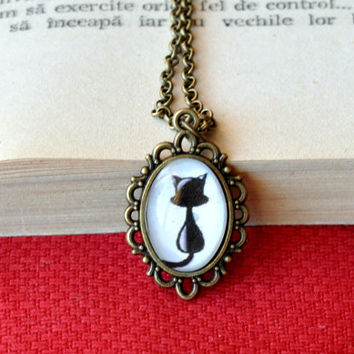 Kitty Cat Black Cat Pendant Necklace Cat Silhouette Glass Dome Necklace