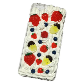 Ready to Ship! iPhone 6 Plus Strawberry Banana Kawaii Decoden Case