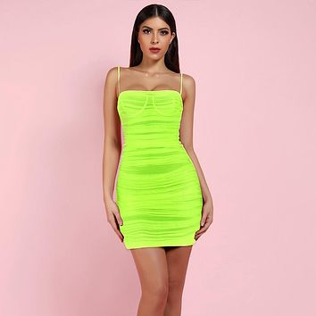 Neon Green Strappy Mesh Bodycon Mini Dress