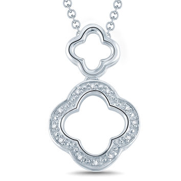 Diamond Accent Double Clover Drop Pendant in Sterling Silver