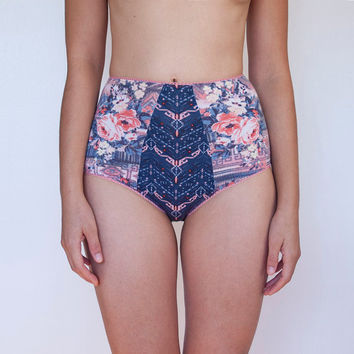 High Waist Panties. Star Canstellations and Florals Design Full cut Retro Style Unique Lingerie.