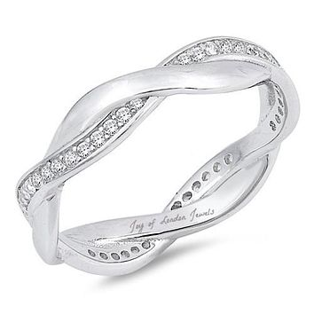 1.9TCW Russian Lab Diamond Twist Wedding Band Ring
