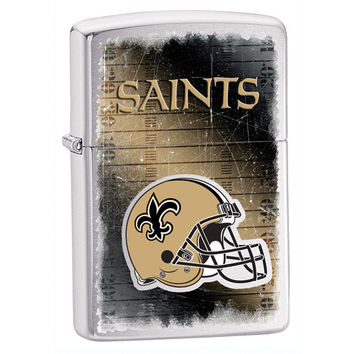 Personalized NFL Brushed Chrome Zippo Lighter - New Orleans Saints