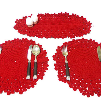 Place mat, Crochet placemat, Handmade, Red, Kitchen Accessories, Patio accessories, for the kitchen, Housware, Table set for dinner